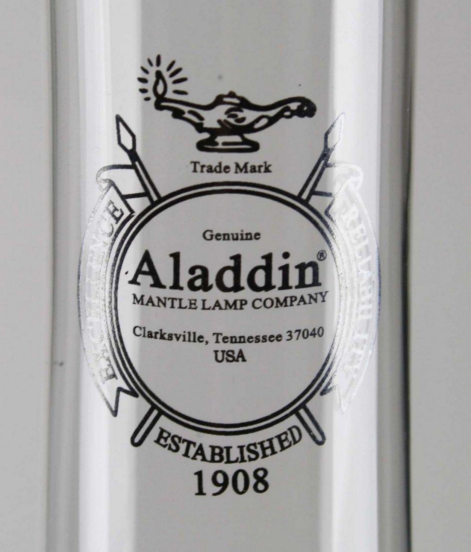 """Aladdin Lincoln Drape oil lamp, pink cream glass, ht 9"""" - 4"""