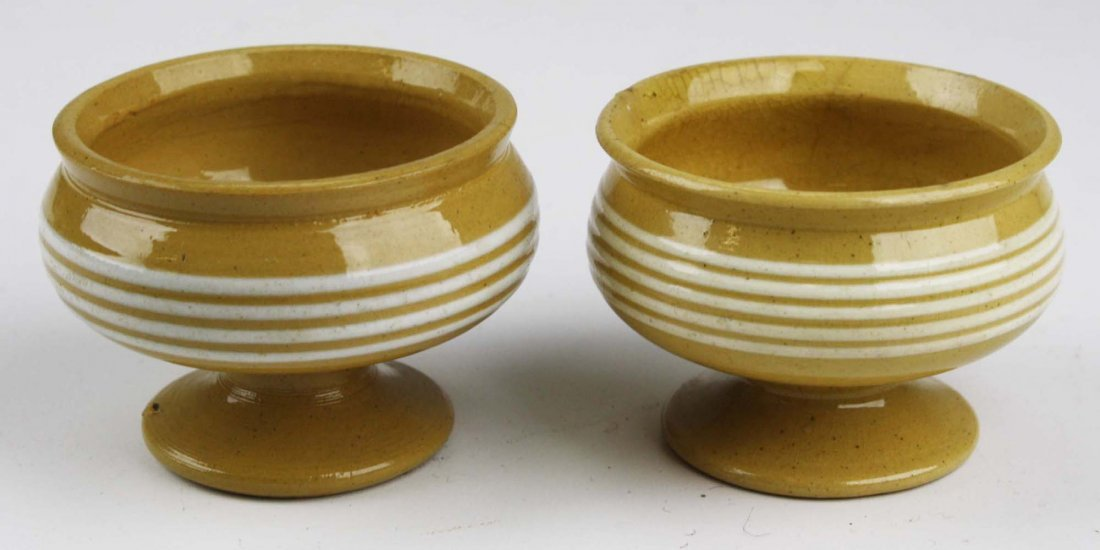 two early 19th c yellow ware master salts with multiple