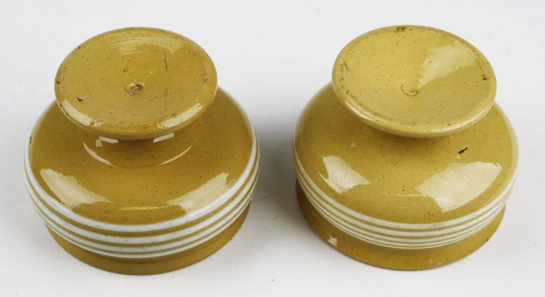two early 19th c yellow ware master salts with multiple - 2