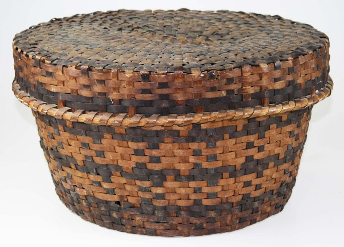 late 19th c Eastern Woodlands covered basket, probably