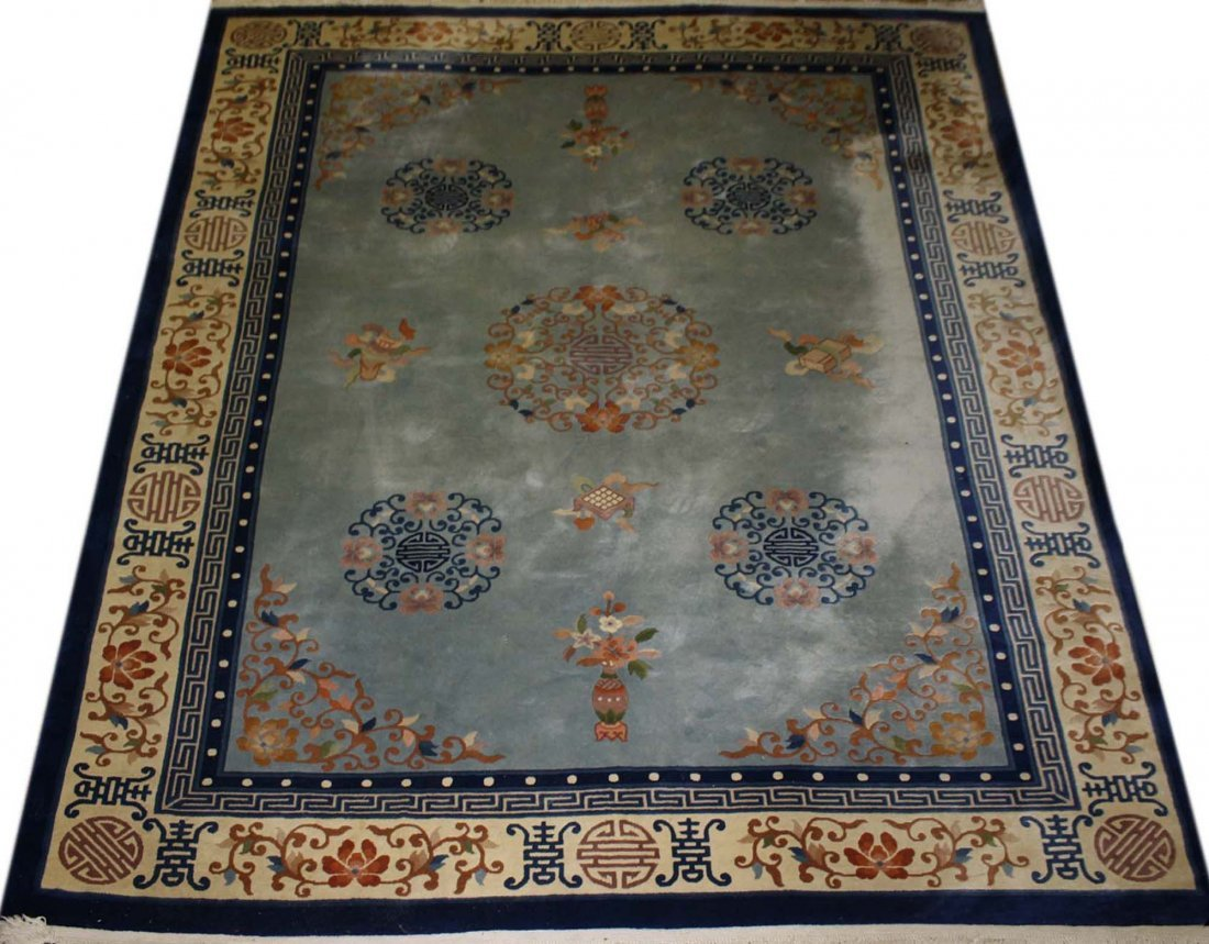late 20th c Chinese main carpet, sculpted blue & white