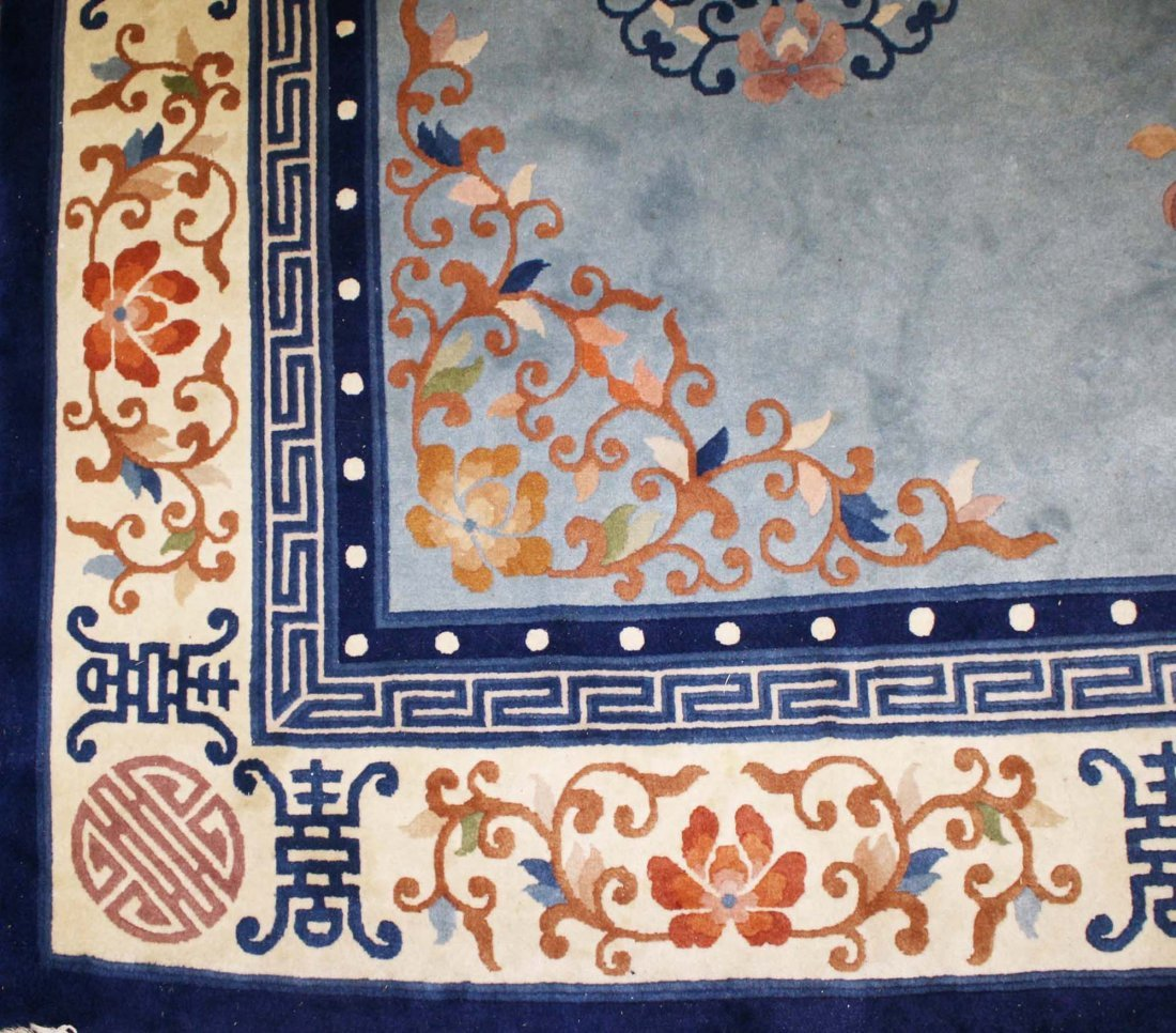 late 20th c Chinese main carpet, sculpted blue & white - 2