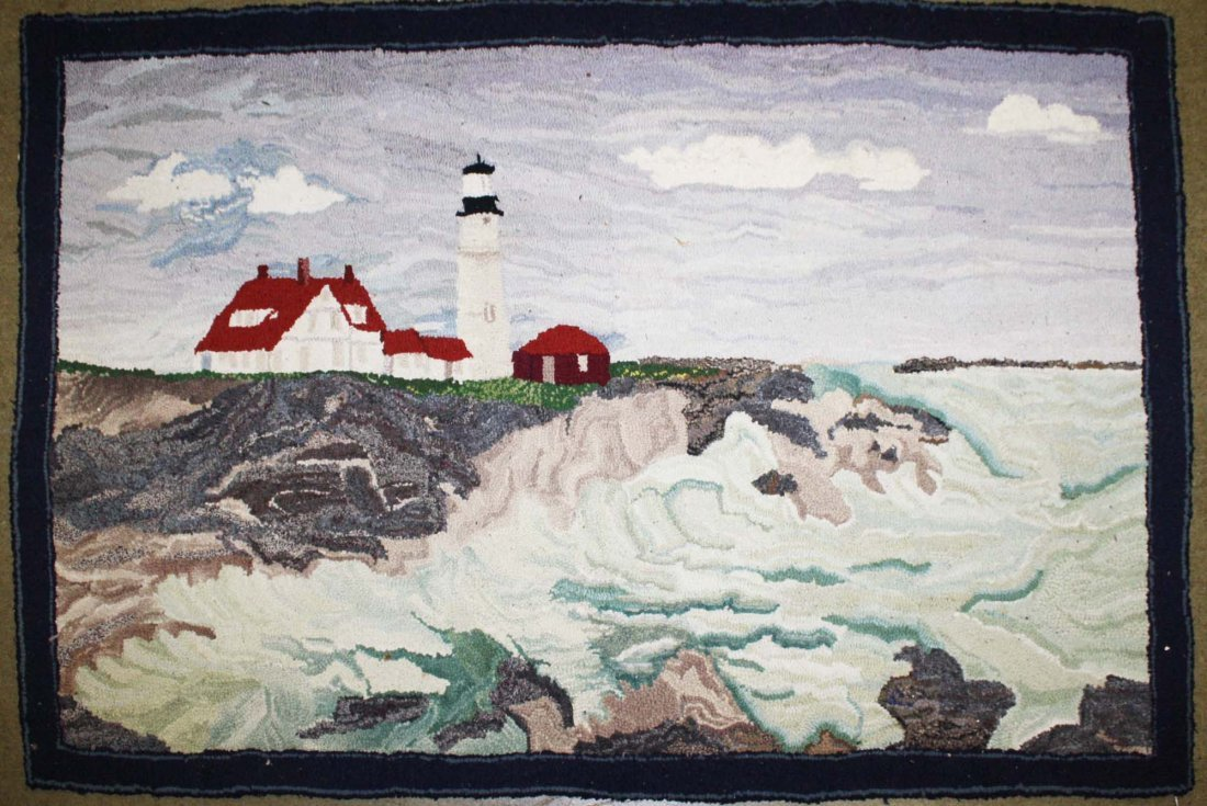 late 19th c hooked rug with New England light house