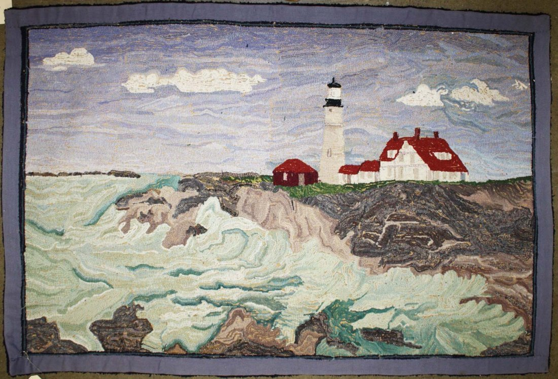 late 19th c hooked rug with New England light house - 2