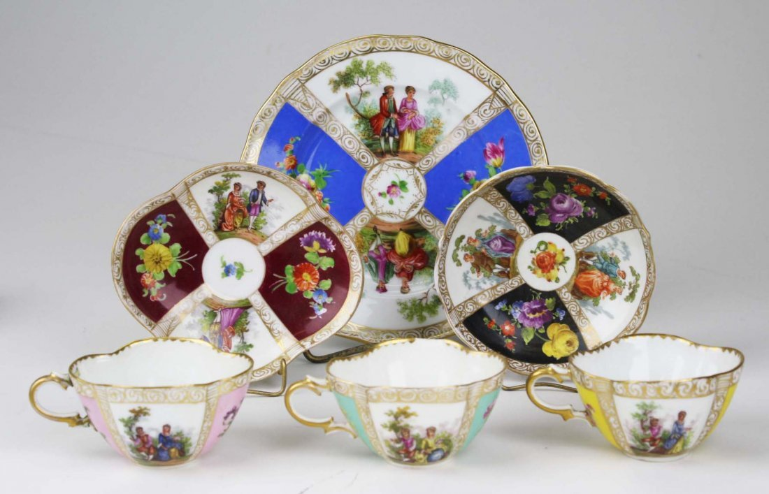 approx 44 pcs 19th c. Meissen and 20th c. Dresden