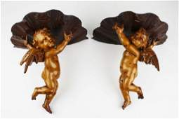 20th c Italian carved wooden putti wall brackets ht