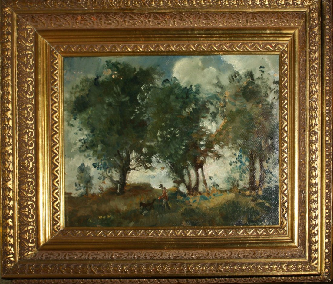 20th c American school oil on masonite of hunter and