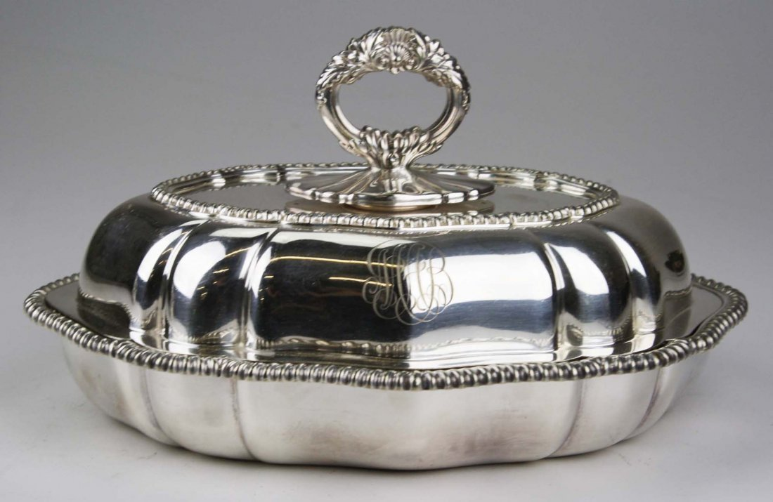 Tiffany & Co. heavy silver plated scalloped oval