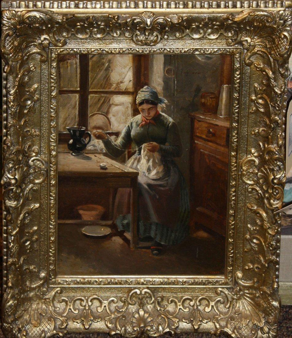 19th c European school genre interior of woman sewing