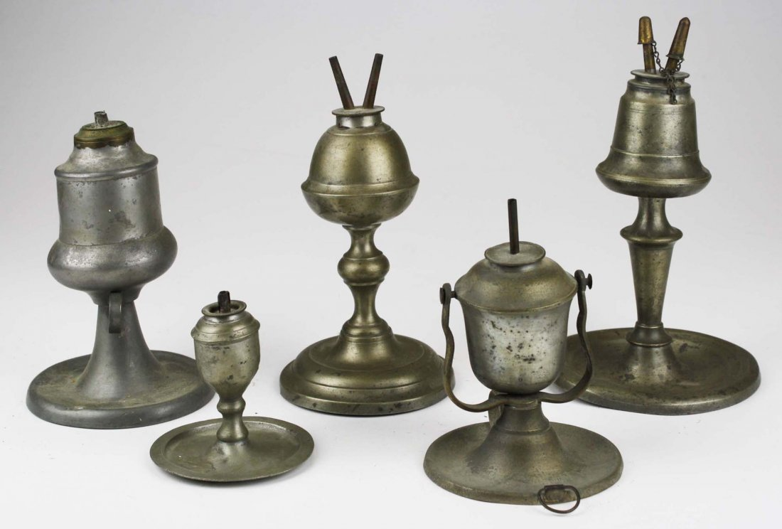5 pcs of early 19th c lighting including whale oil &