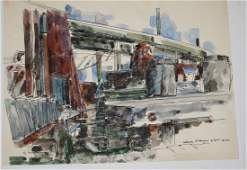 Stephen Ettinger American 20th c Three watercolor and