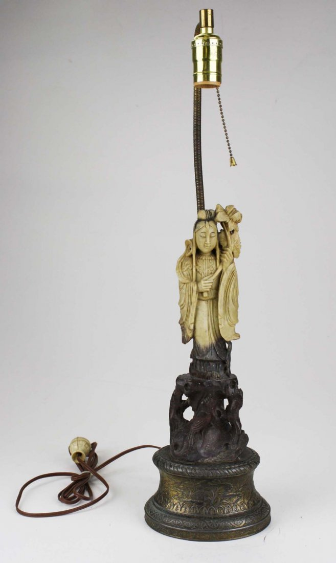 early 20th c Chinese hardstone figure/ table lamp, ht - 2