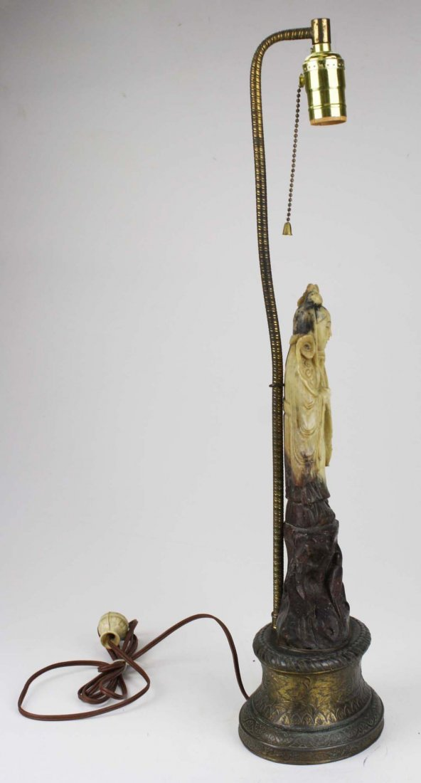 early 20th c Chinese hardstone figure/ table lamp, ht - 3