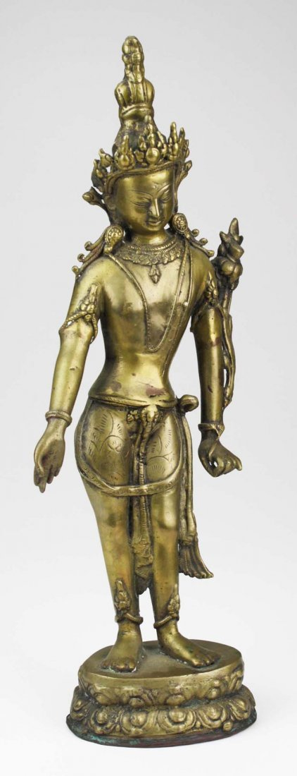 early to mid 20th c Cambodian brass bodhisattva, copper