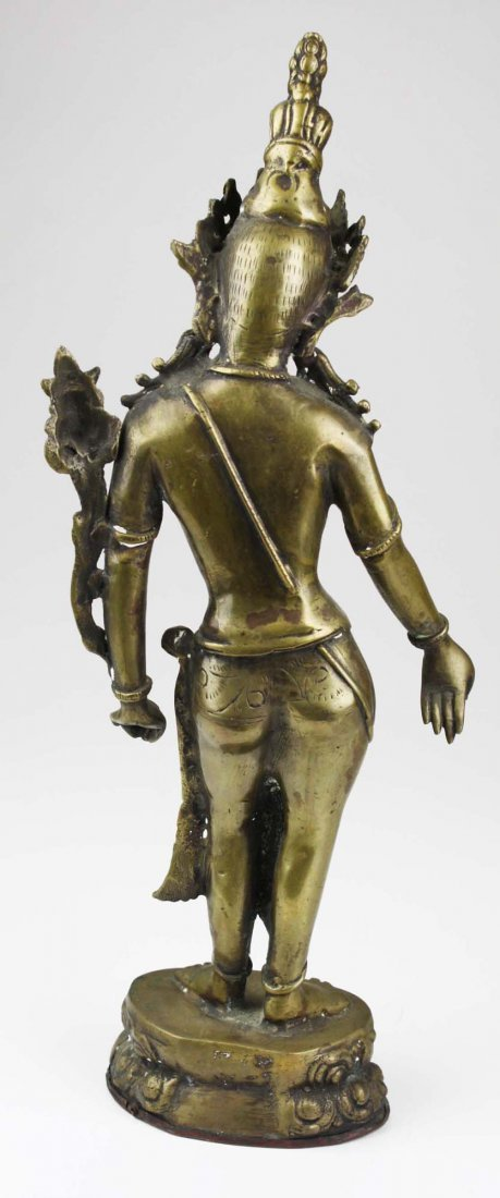 early to mid 20th c Cambodian brass bodhisattva, copper - 3