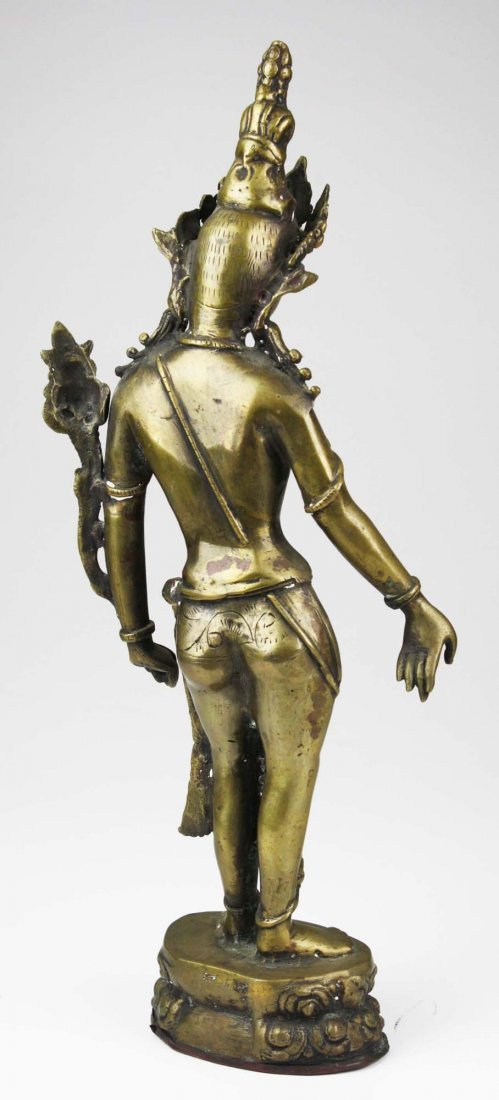 early to mid 20th c Cambodian brass bodhisattva, copper - 4