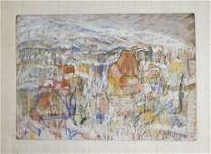 Mid century European abstract landscape signed