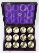 Cased set of Tiffany & Co sterling silver salt cellars.
