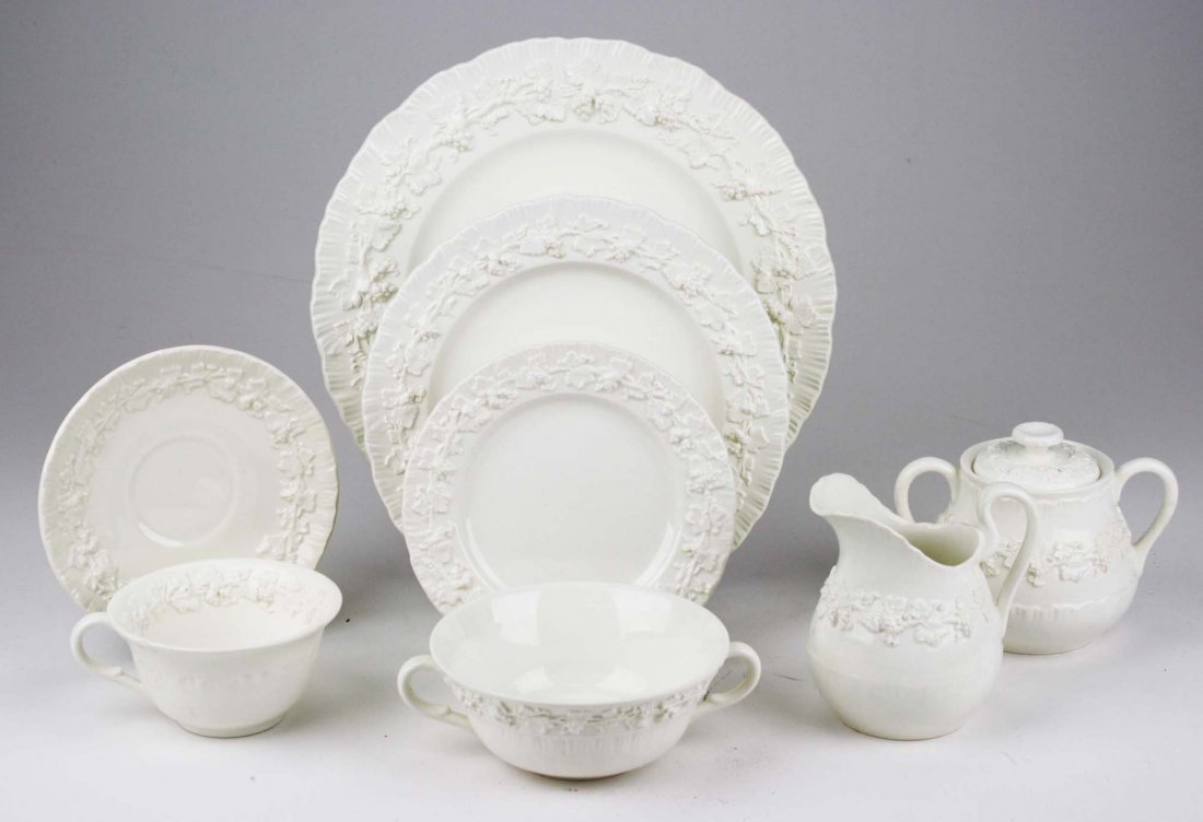 63 pcs Wedgwood cream Queensware with embossed grape