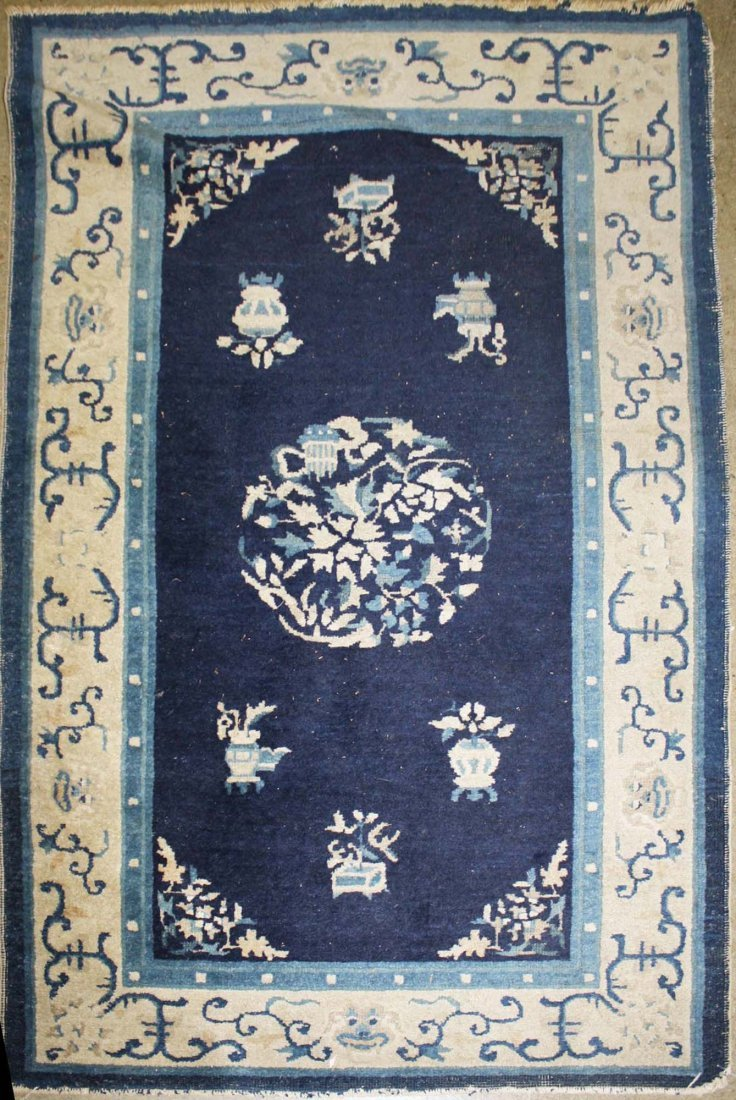 "mid 20th c Chinese area rug, 2' 11"" x 4' 8"""