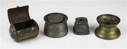 early 19th c pewter ink wells, tin match safe (4 pcs)