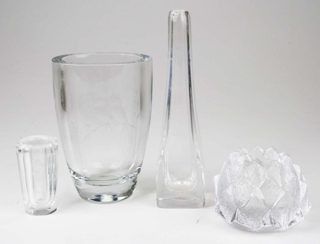 Four pcs. Orrefors blown crystal art glass incl, candle