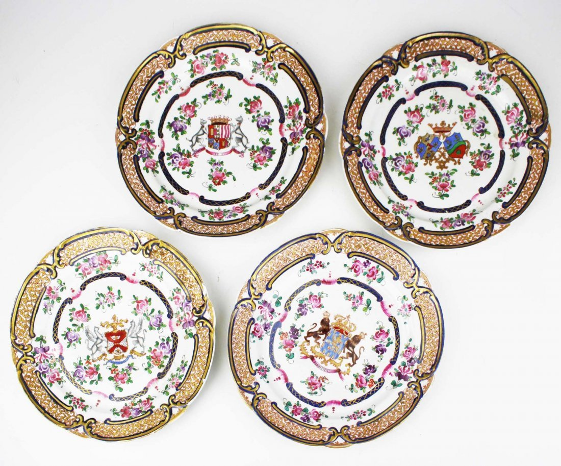 set of 4 early 19th c Chinese export dinner plates with