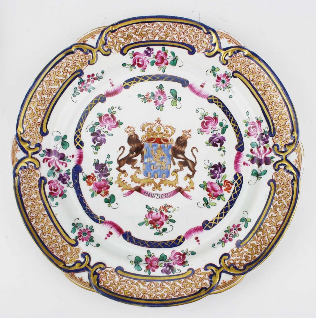 set of 4 early 19th c Chinese export dinner plates with - 2