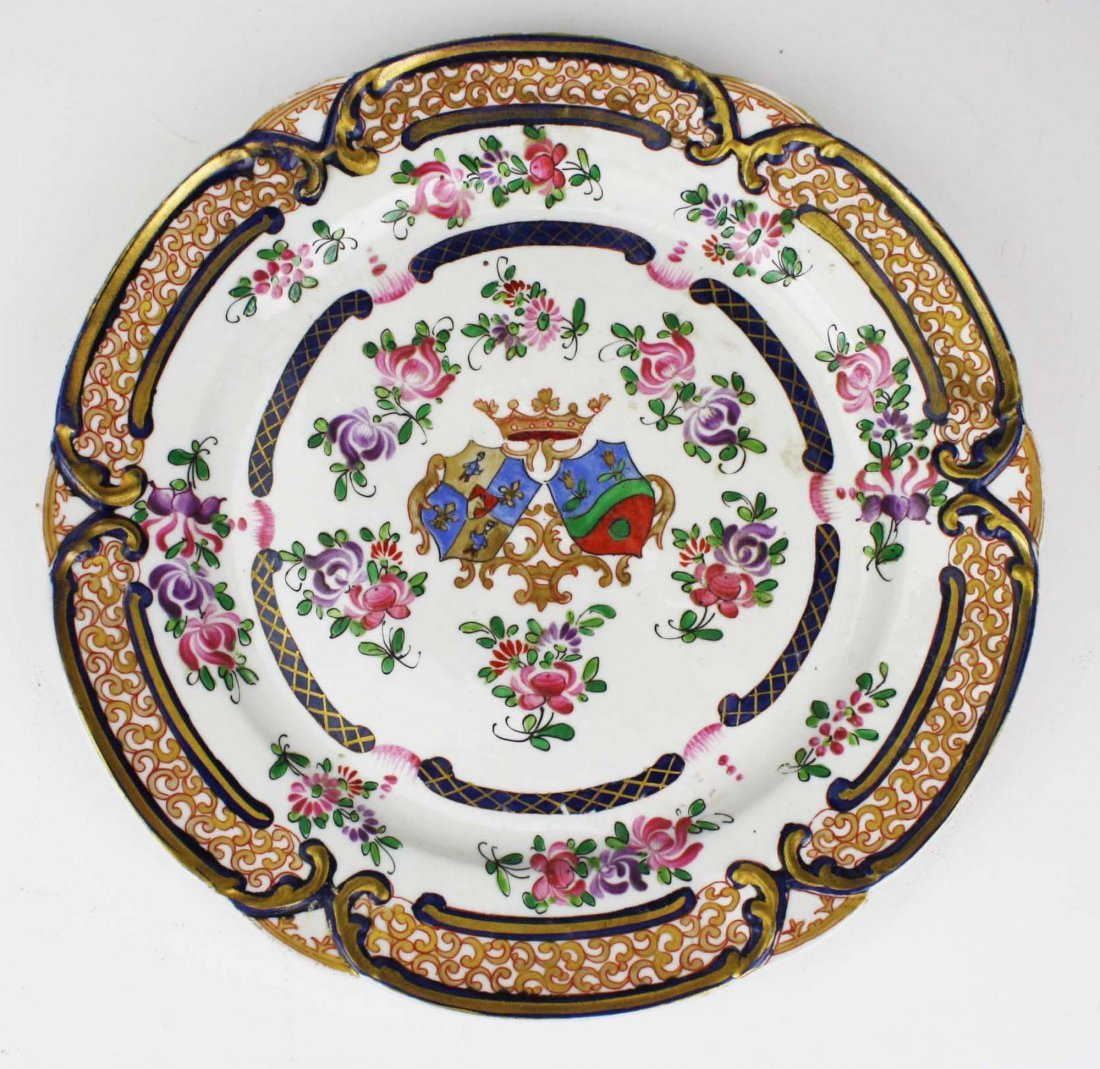 set of 4 early 19th c Chinese export dinner plates with - 3