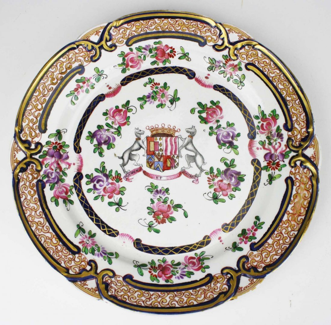 set of 4 early 19th c Chinese export dinner plates with - 4