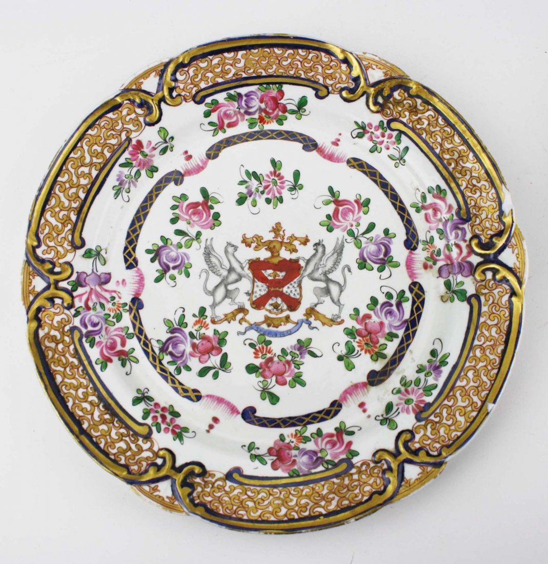 set of 4 early 19th c Chinese export dinner plates with - 5