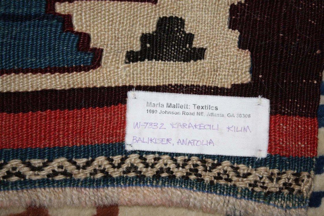 20th c Karakecili  kilim, Marla Mallett cloth label, - 5