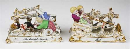 pair of Conta  Boehme type porcelain comic fairing