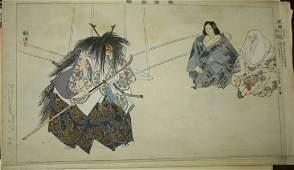 Six early 20th c Japanese wood block Ukiyoe prints