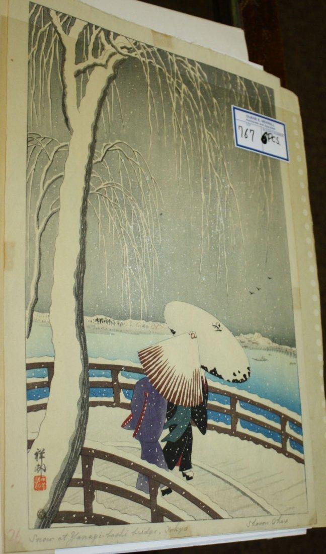 Six early 20th c Japanese wood block Ukiyo-e prints - 3
