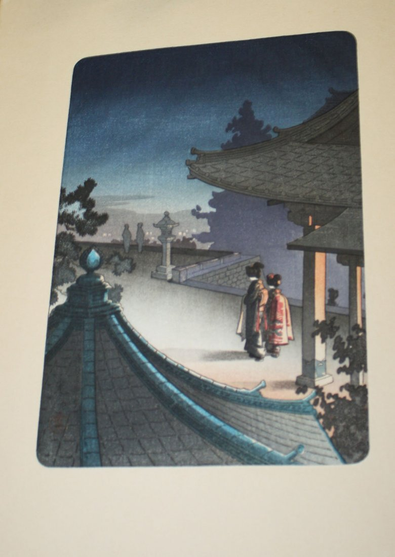 Six early 20th c Japanese wood block Ukiyo-e prints - 5