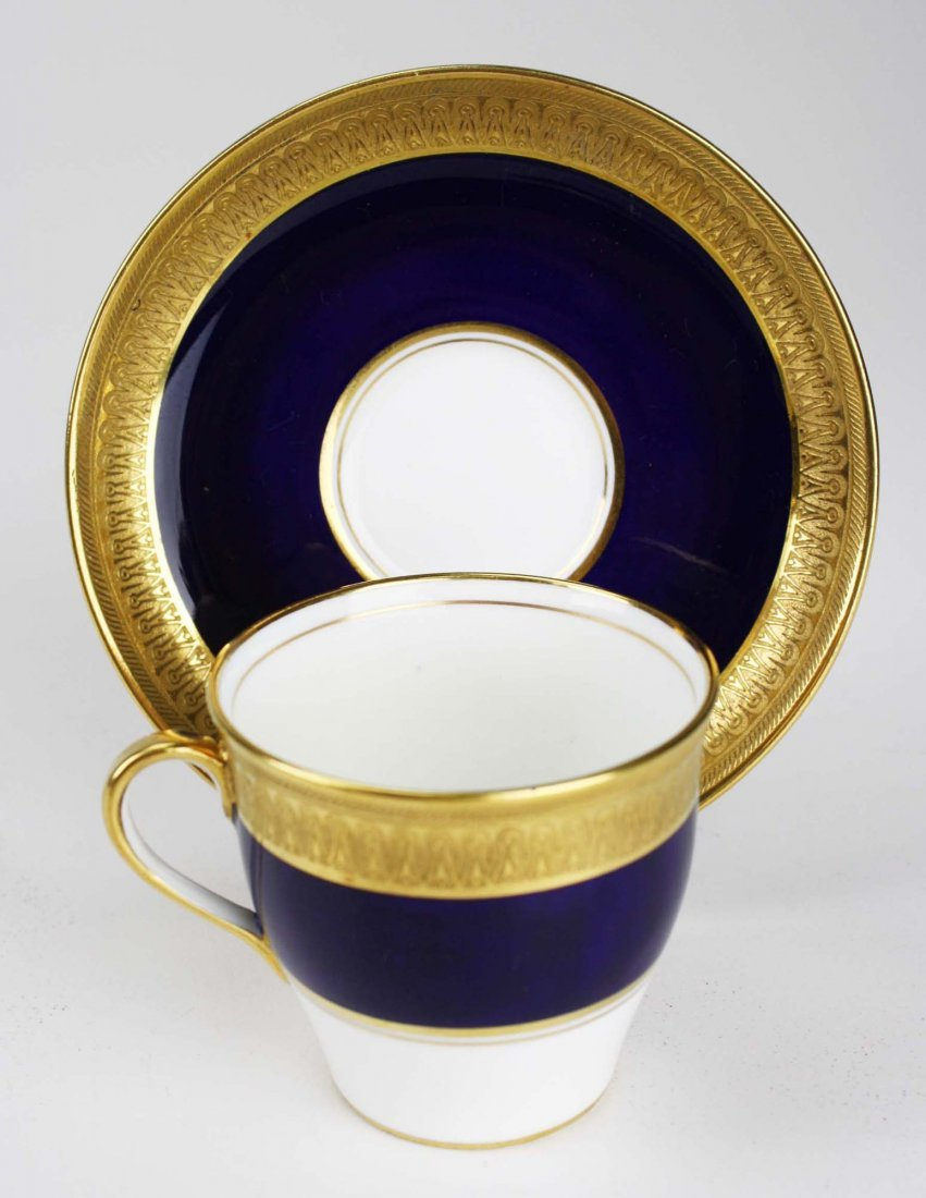set of 11 Aynsley English bone china embossed  gilt and