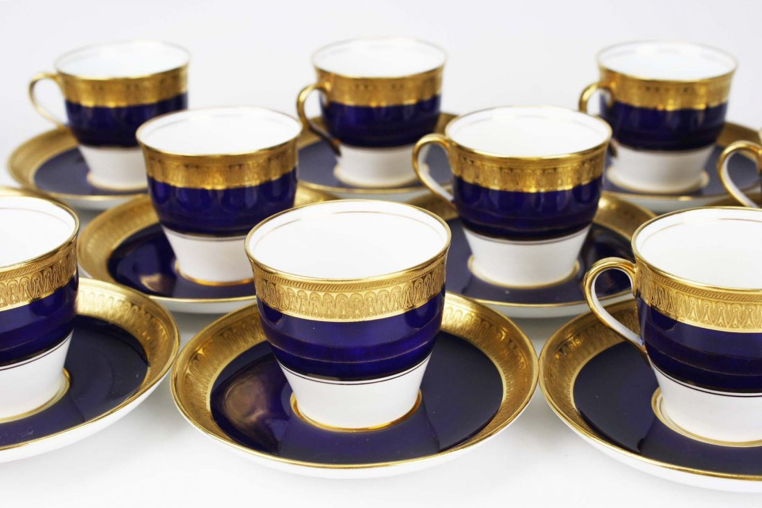 set of 11 Aynsley English bone china embossed  gilt and - 3