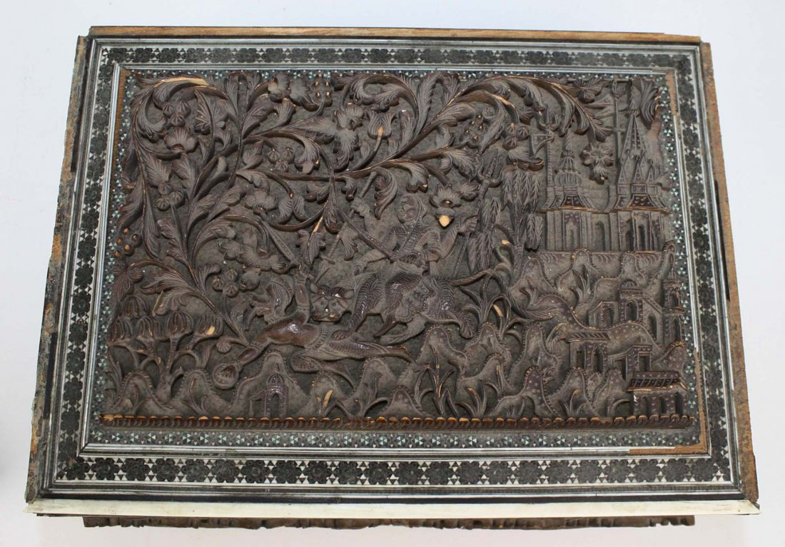 early 20th c Indo-Persian carved & inlaid box, losses, - 2