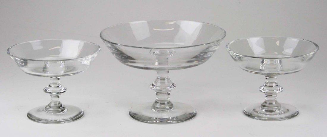 Three Val St. Lambert blown art glass crystal knob stem