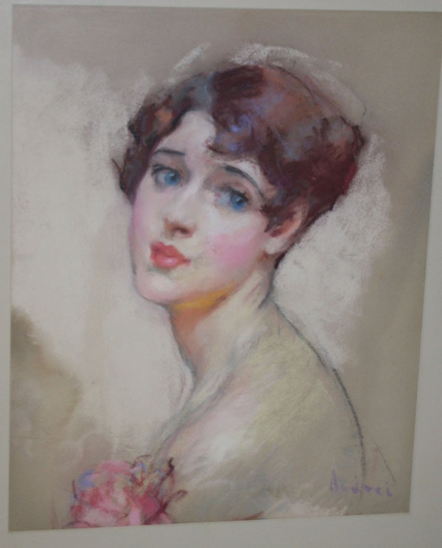 Portrait of a girl signed Andrei (Possibly Rene Jean