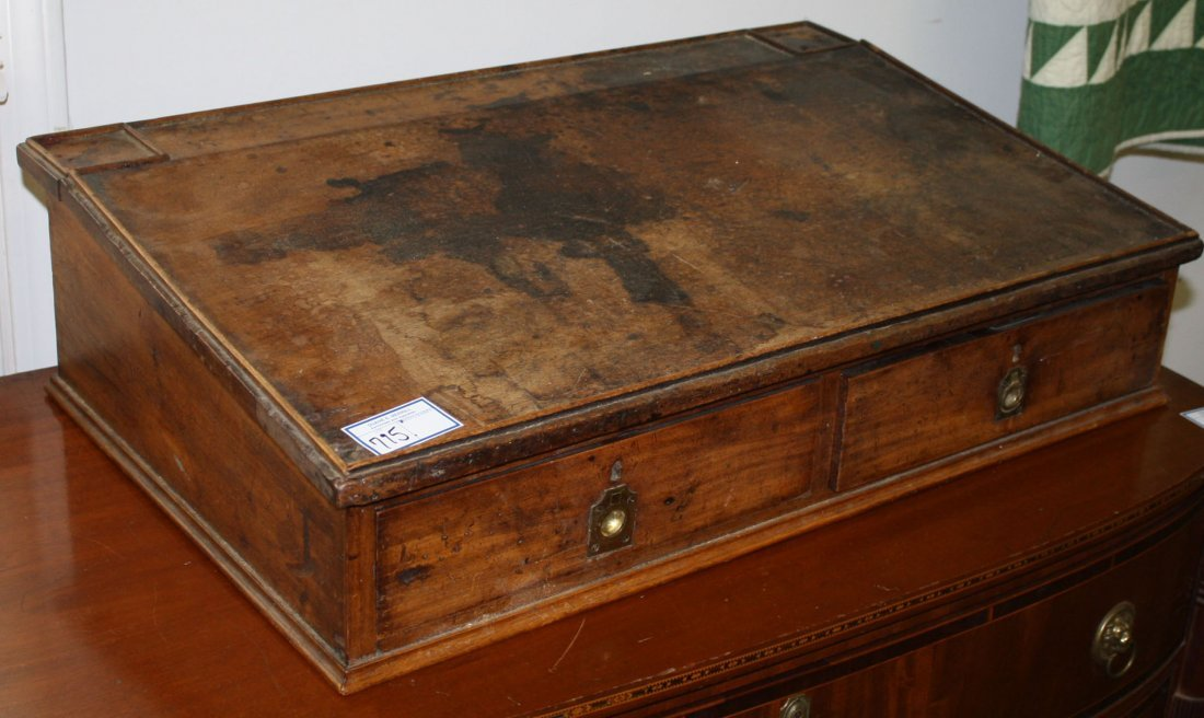 English schoolmaster or clerks table top desk, walnut,