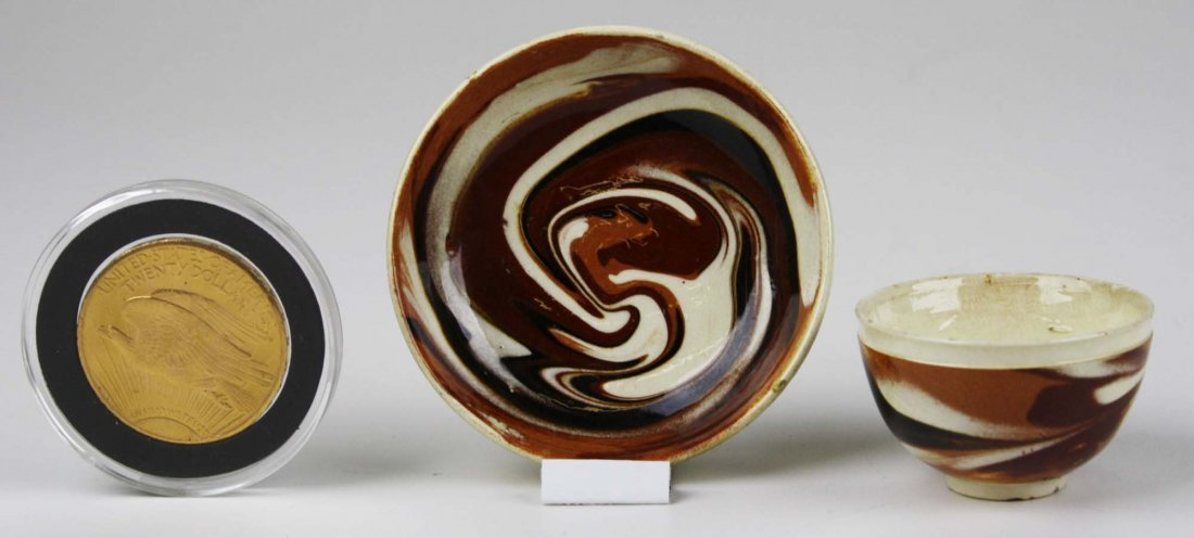 rare 18th c miniature mocha ware tea bowl & saucer with