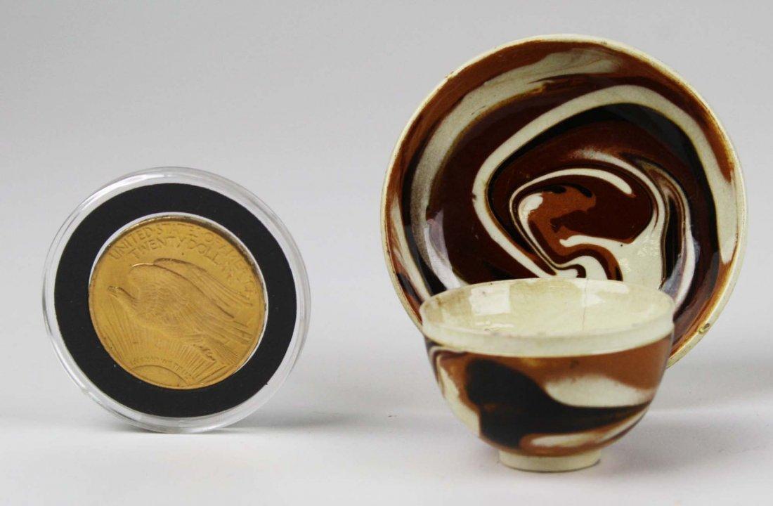 rare 18th c miniature mocha ware tea bowl & saucer with - 2