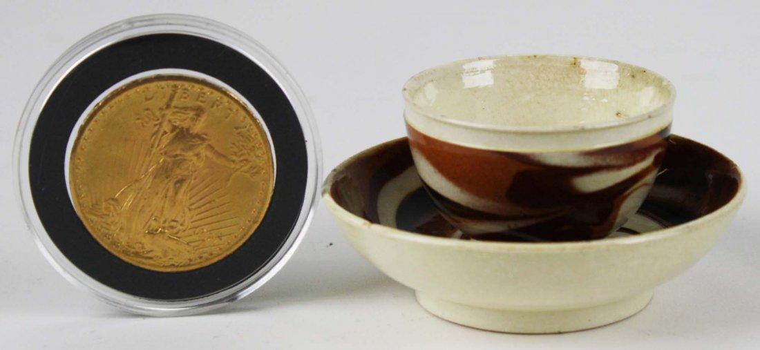 rare 18th c miniature mocha ware tea bowl & saucer with - 3