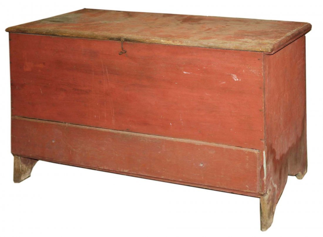 18th c original red paint pine 1 drawer lift top