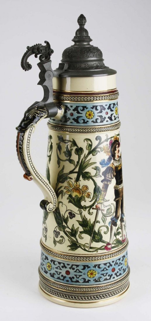 ca 1900 German beer stein with hand painted couple, 3