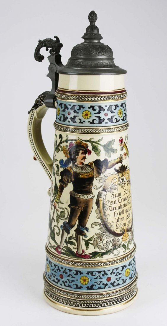 ca 1900 German beer stein with hand painted couple, 3 - 2