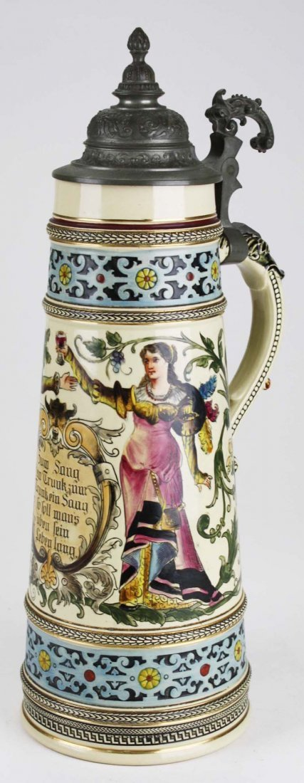 ca 1900 German beer stein with hand painted couple, 3 - 3