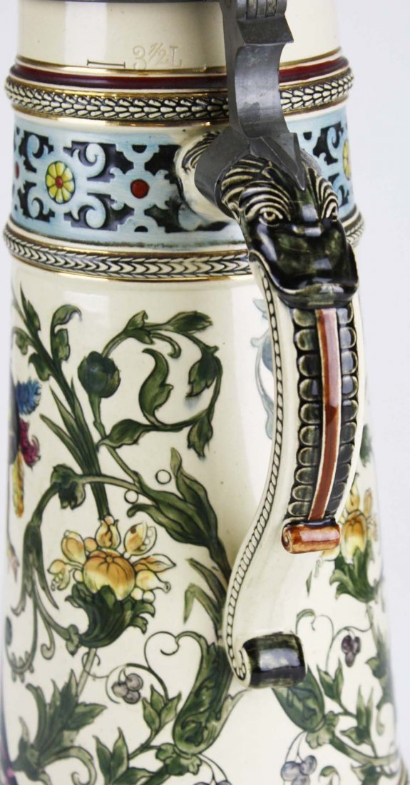 ca 1900 German beer stein with hand painted couple, 3 - 4